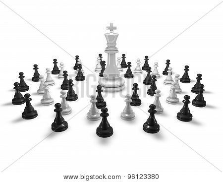 Chess Army And Leader Abstract Concept With Chess King.
