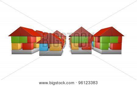 3D Housing Concept. Real Estate Business Concept.