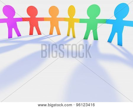 Colorful Child's Handing Hands, Cartoon People Silhouettes 3D Illustration.
