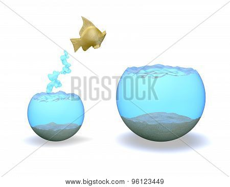 Ambitiousggold Fish Jumping Hight, Rise And Improvement Concept.
