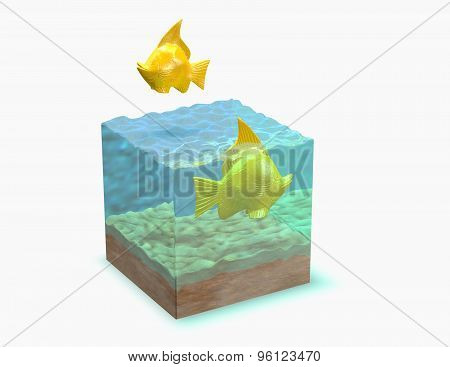 Gold Fish In Aquarium, 3D Render Illustration.