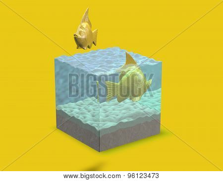 Gold 3D Fish In Aquarium, Abstract Render Illustration.