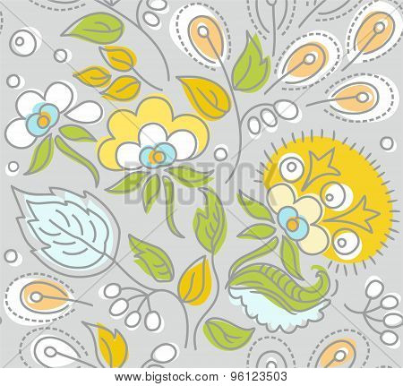 Seamless Gray Pattern, Yellow...