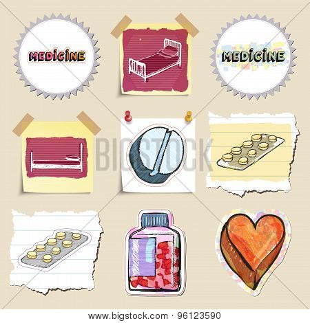 Hand drawn medical emblems set. Isolated