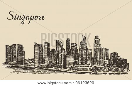 Singapore architecture hand drawn sketch