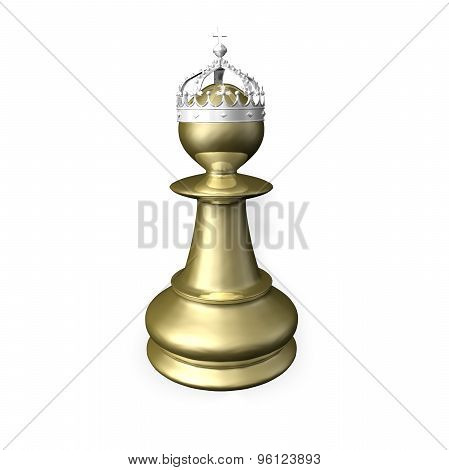 Gold Chess Figurine Render With Silver Crown.