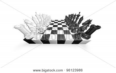 Chess Game Abstract Concept 3D Illustration With Black And White Glass Chess Pieces.