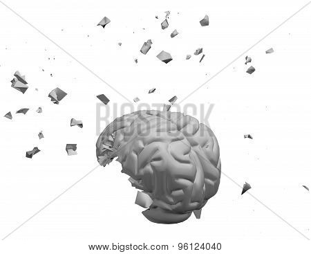 Exploding  Brain 3D Illustration Isolated On White.