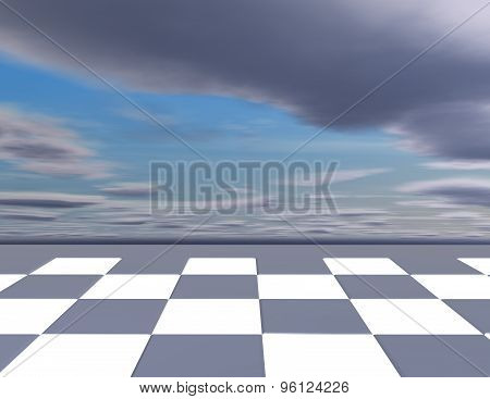Chess Abstract Background With Chessboard And Cloudy Sky.