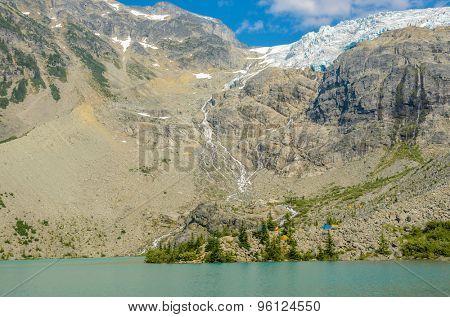 Majestic mountain lake in Canada. Upper Joffre Lake Trail View.