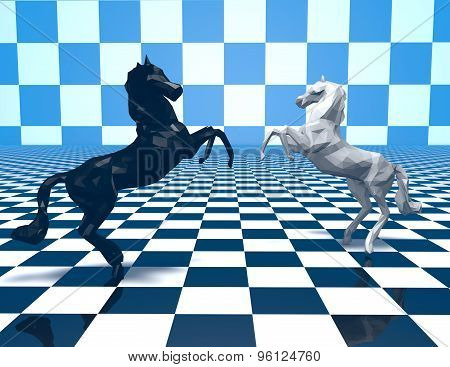 Two Horses  Fighting, Checkered Blue Background.