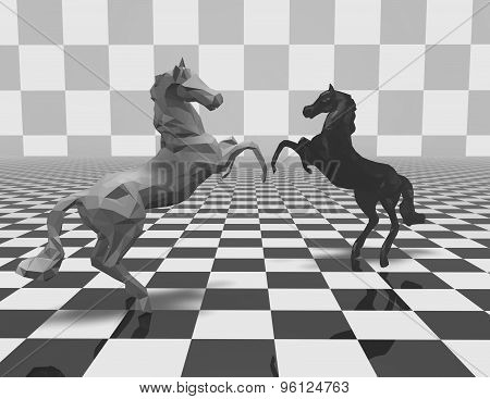 Black And White Geometrical Horse Figurines On Checkerboard Background.