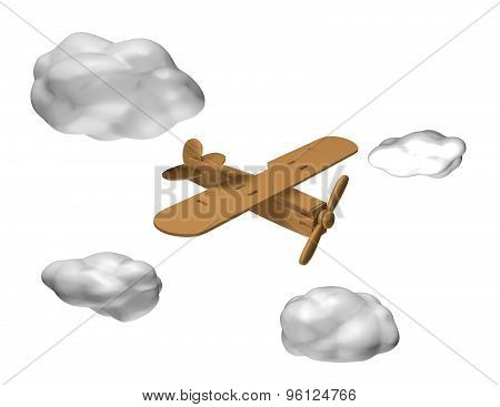 Wooden Plane Toy Flying On Air With 3D Clouds, Isolated On White.