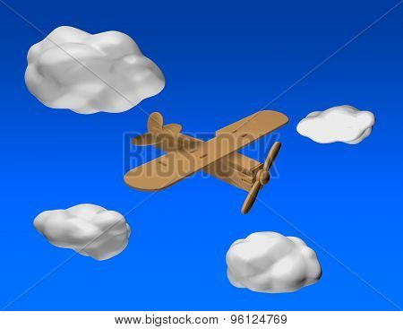 Wooden Airplane Flying On Blue Sky Background With 3D Clouds.