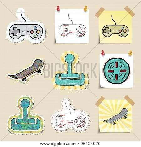 Hand drawn games and relaxation emblems set. Isolated