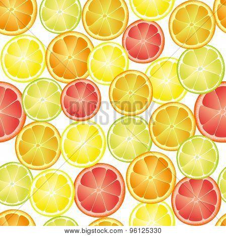 Repeating seamless pattern of different citruses. Orange, grapefruit, lemon, lime.