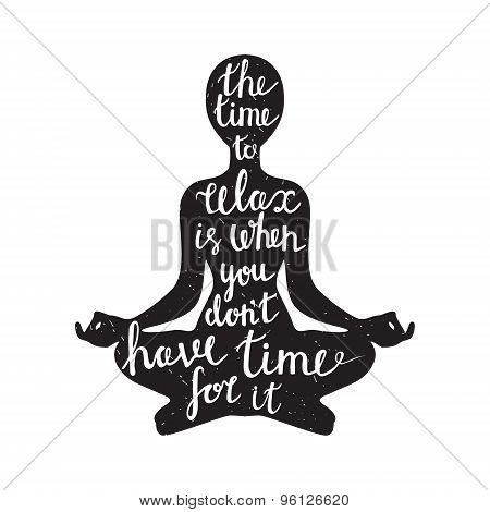 Meditation Silhouette With Quote