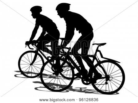 Silhouettes of people on a sport bike on a white background