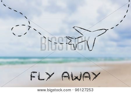 Fly Away: Airplane And Blurred Beach Background