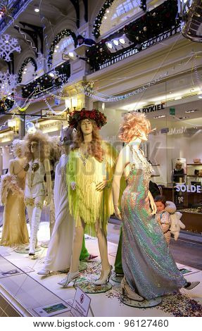 Mannequins with samples of evening dresses