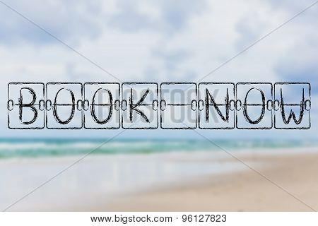 Schedule Board With Words Book Now On Beach Background