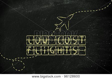 Departure Board With Writing Low Cost Flights And Airplane Flying