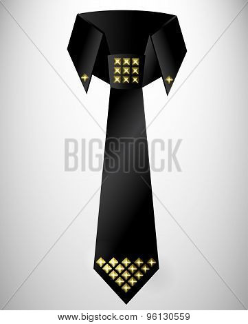 Abstract retro cravat, tie with stud
