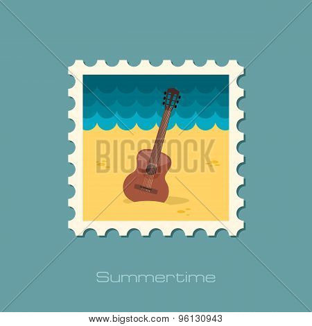 Guitar Beach Flat Stamp