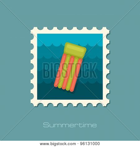 Floating Mattress On Beach Flat Stamp