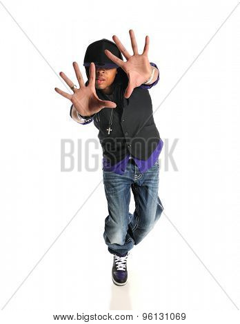 Portrait of hip hop African American dancer isolated over white background