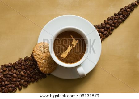 Still Life - Coffee With Map Of New Zealand