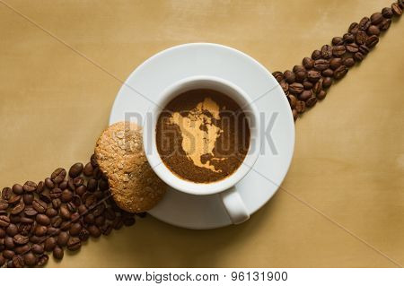 Still Life - Coffee With Map Of North America