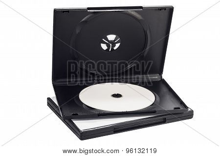 The Open Black Dvd Case With Disk Inside Isolated