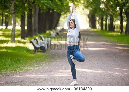 Vriksasana Posture On Park Alley