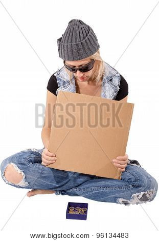 Homeless with blank cardboard
