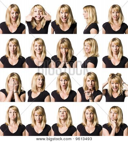 Collage of faceexpressions woman