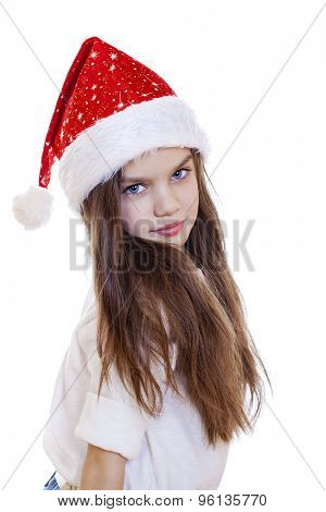 Portrait of a charming little girl on christmas, isolated in white background