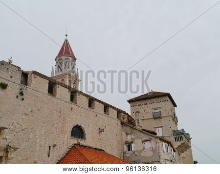 View on old bell tower in the Croatian city Trogir
