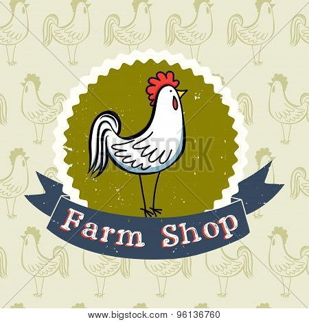 Cartoon Rooster Label