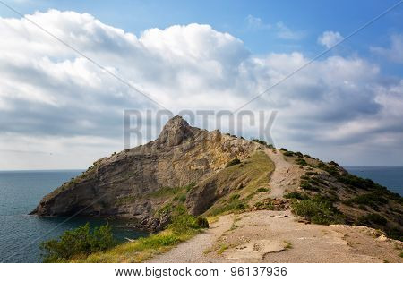 Beautiful View Of The Cape Kapchik In The Sunny Summer Day, Natural Lighting, The Crimea