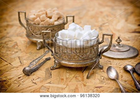 Yellow and white sugar - sugar cubes