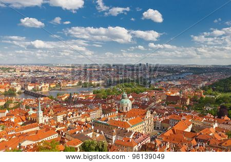 Aerial View Of Old City Center Of Prague
