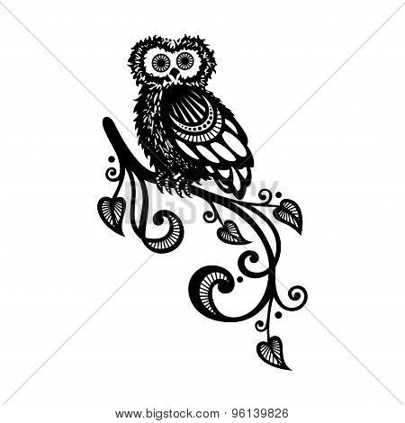 Vector Decorative Owl On Ornate Branch