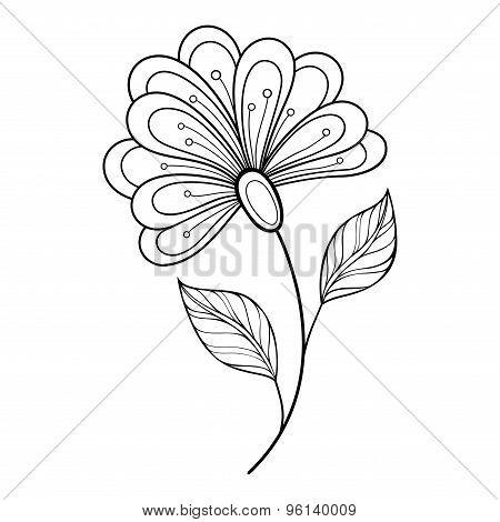 Vector Beautiful Monochrome Contour Flower