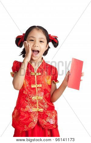 Happy Asian Girl In Chinese Cheongsam Dress With Red Envelope