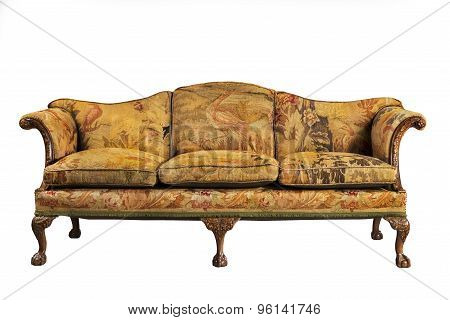 Sofa With Tapestry Upholstery Old And Original Antique