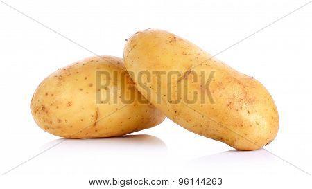 Raw Potato Isolated On The White Background