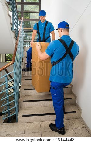 Two Movers Standing With Box On Staircase