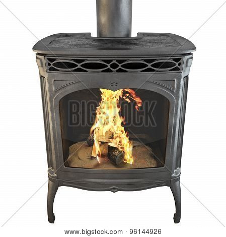 Fireplace isolated with fire 3d graphics