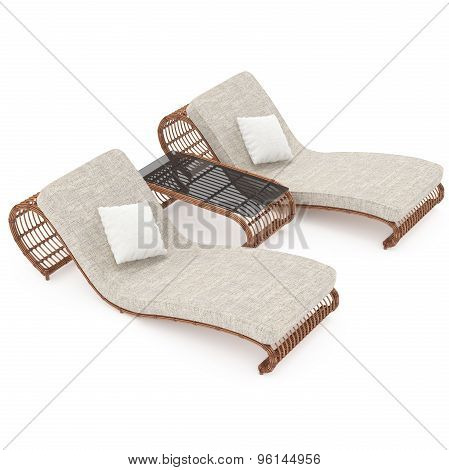Rattan furniture 3d graphics